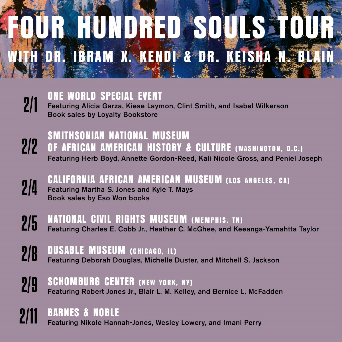 .@DrIbram & I are so excited to announce the dates of our #virtual #book tour for #FourHundredSouls! We're making stops at @NMAAHC, @SchomburgCenter, @BNBuzz & more! Please join us! See the link below for details. @penguinrandom @OneWorldLit