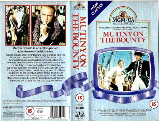 Original retail vhs artwork of the film #MutinyOnTheBounty starring Marlon Brando and Trevor Howard and directed by and directed by Lewis Milestone #TBT #artwork #Bluray @mgmstudios