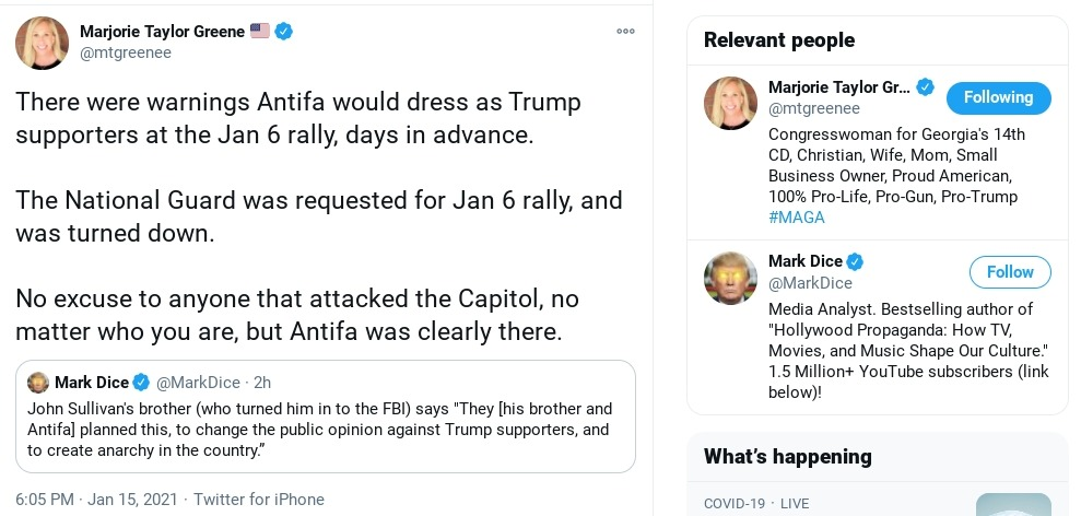 Look, Congresswoman for #Georgia, #MarjorieTaylorGreene, has completely lost touch with reality. She's blaming #Antifa for the actions of #ProudBoys terrorists who attacked #CapitolHill.