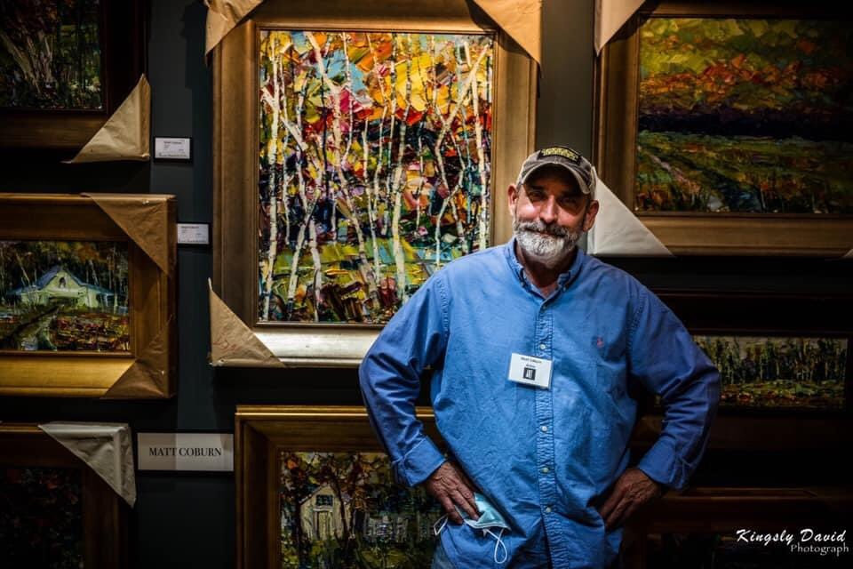 #Artist #MattCoburn #founder of #ArtOnTheSquare here in #Bentonville #AR #Paints #heavilytextured #oilpaintings  —————— #gallery #art #NWA #Arkansas #NWArk #supportsmallbusiness #supportlocal #artistsontwitter #BentonvilleSquare  102 #EastCentralAvenue