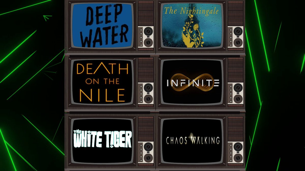 Book 'Em Boys!  The movies based on books award. Read them now so you can say the book is better than the film later.  What page turners are you looking forward to being adapted this year?  #DeepWater #TheNightingale #DeathOnTheNile #Infinite #WhiteTiger #ChaosWalking