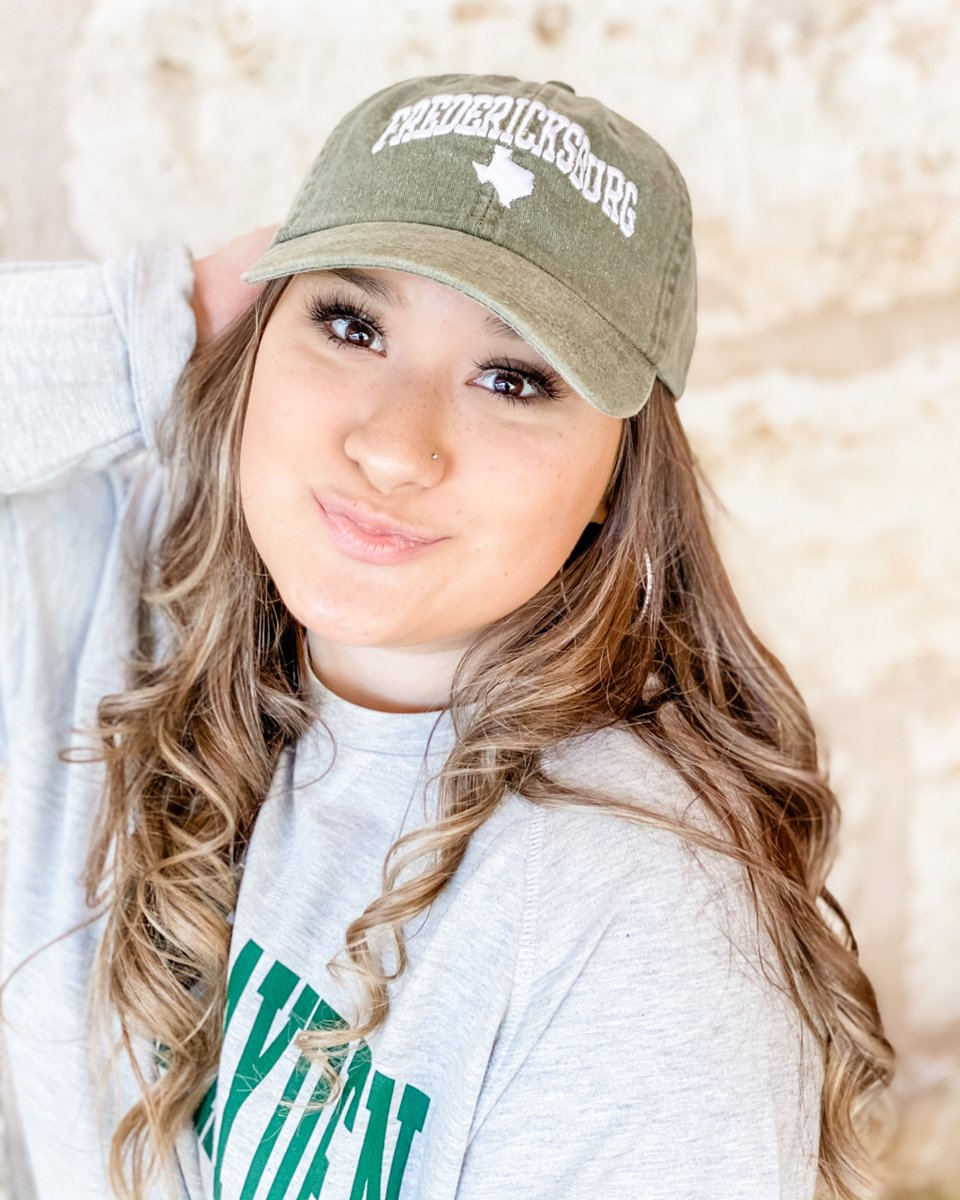 """Saying you don't look good in hats is like saying you don't look good in shoes💁🏻♀️🧢 Happy #NationalHatDay!! • • Search """"Fred C Good Great""""  at the link in bio!! #shopcamphayden #shoplocal #fredericksburgtx"""