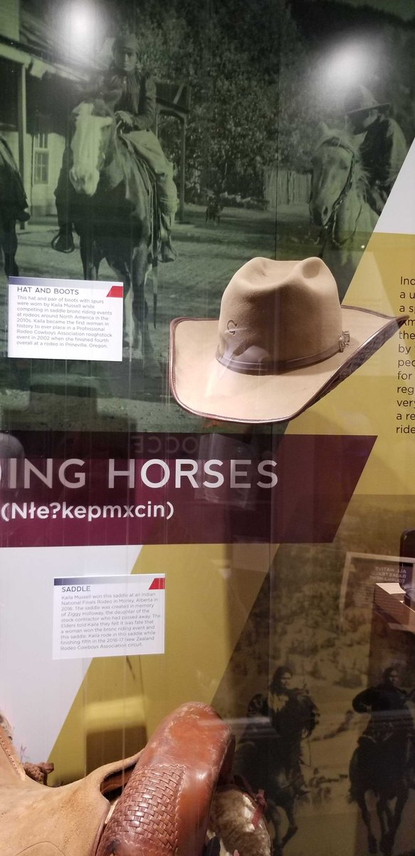 📢Since it is #NationalHatDay, we thought we'd show you some hats we have here at the #bcshof! Today's feature includes a Goal Light Helmet worn by 'Superfan' David Ash, a replica of Roberto Luongo's helmet, and a hat worn by professional saddle bronc rider Kaila Mussell.