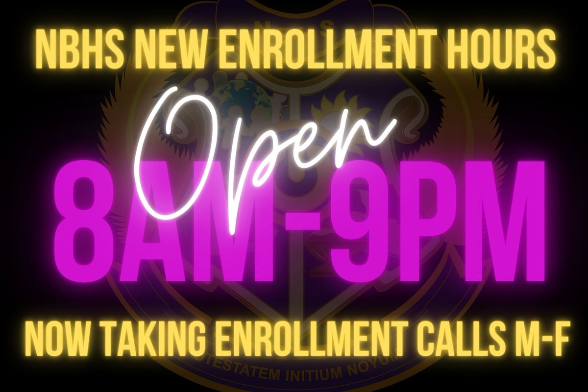 🗣️🗣️SPECIAL ANNOUNCEMENT  🗣️🗣️ TO ALL OUR PROSPECTIVES STUDENTS AND FAMILIES #NBHS has expanded our hours of availability for taking enrollment calls now from 8 am-9 pm Monday - Friday  ENROLL TODAY https://t.co/Puc8aHyHq9 863-298-5666 https://t.co/xxnODeoHuS