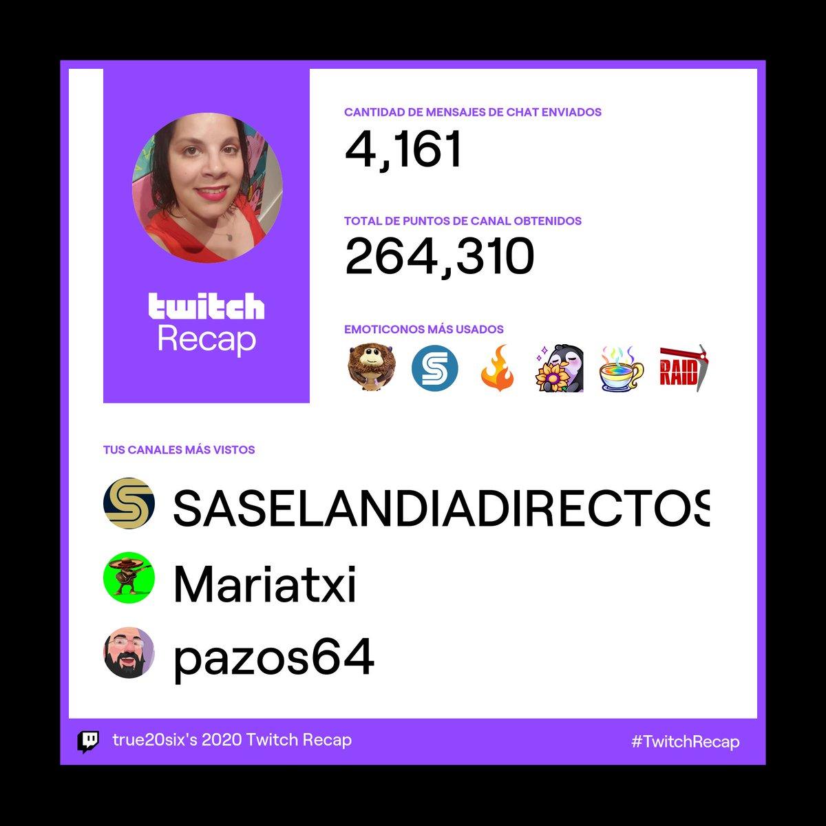 Estos son los canales de @TwitchES  que más he visto en 2020: 308 horas en @Saselandia , 85 horas con @Mariatxil y en tercer lugar 81 horas con @Pazos_64 ¡Gracias! #twitch   #TwitchRecap2020 #twitchrecap