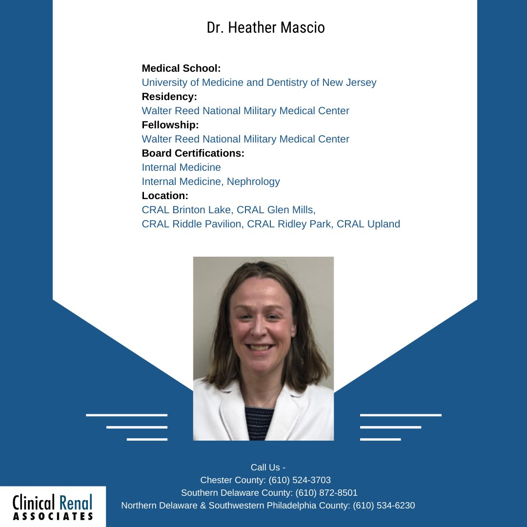 Clinical_Renal: Meet our physician, Dr. Heather Mascio -  To book an appointment with us, visit-  #transplant #health #dialysis #KidneyDisease #physician #ClinicalRenalAssociates