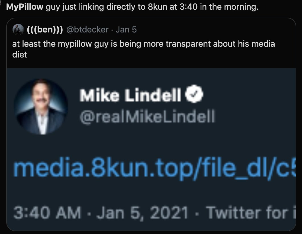 ".@MyPillowUSA fascist CEO Michael Lindell was seemingly urging Donald Trump to invoke the ""Insurrection Act now as a result of the attack"" and then ""martial law if necessary.""   Previously Michael Lindell was encouraging war the day before the Jan 6 Capitol attack."