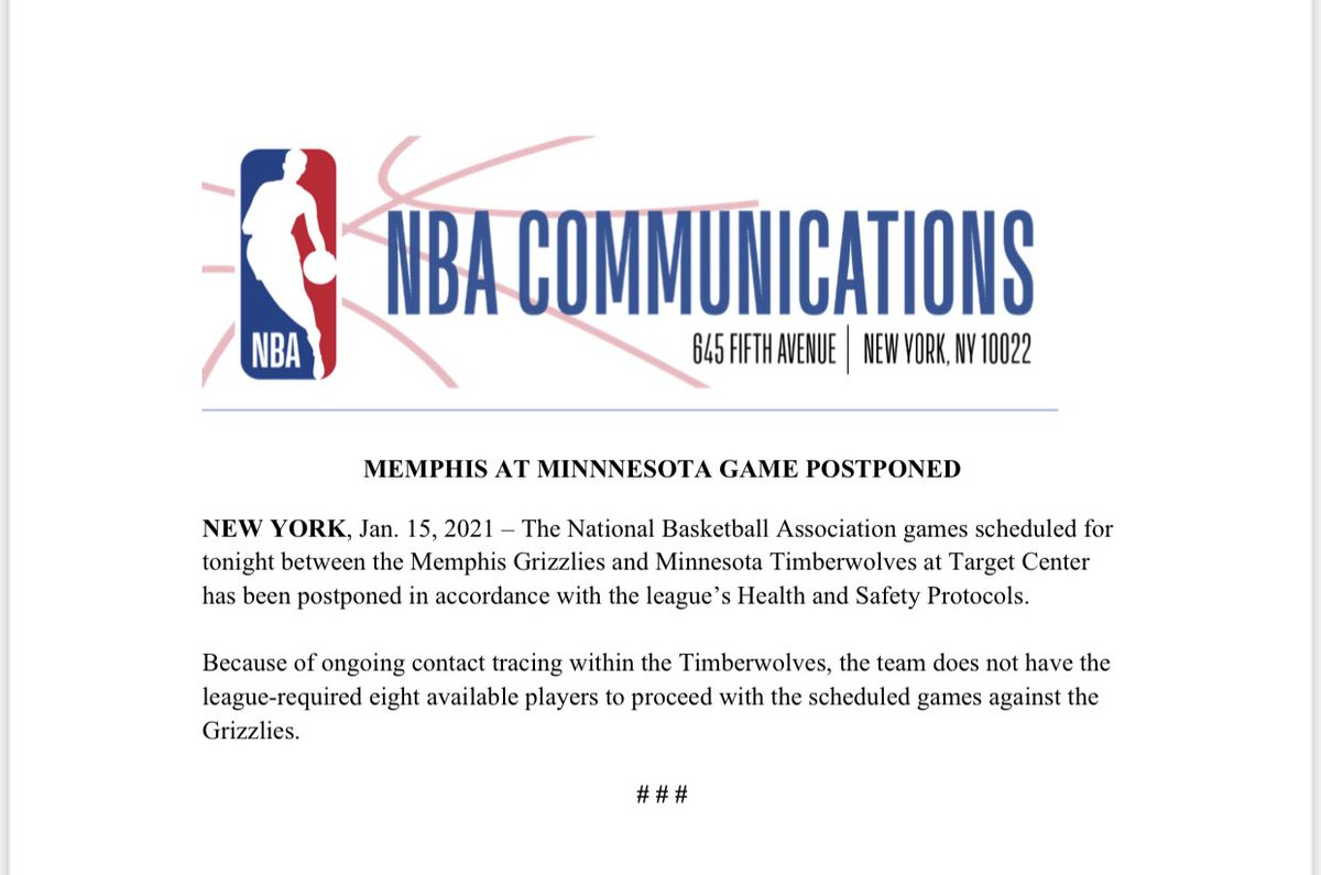 #BREAKING: Tonight's #Timberwolves game vs the Grizzlies has been postponed due to contract tracing for the Timberwolves, the league announced. https://t.co/KFWtpTbkuI