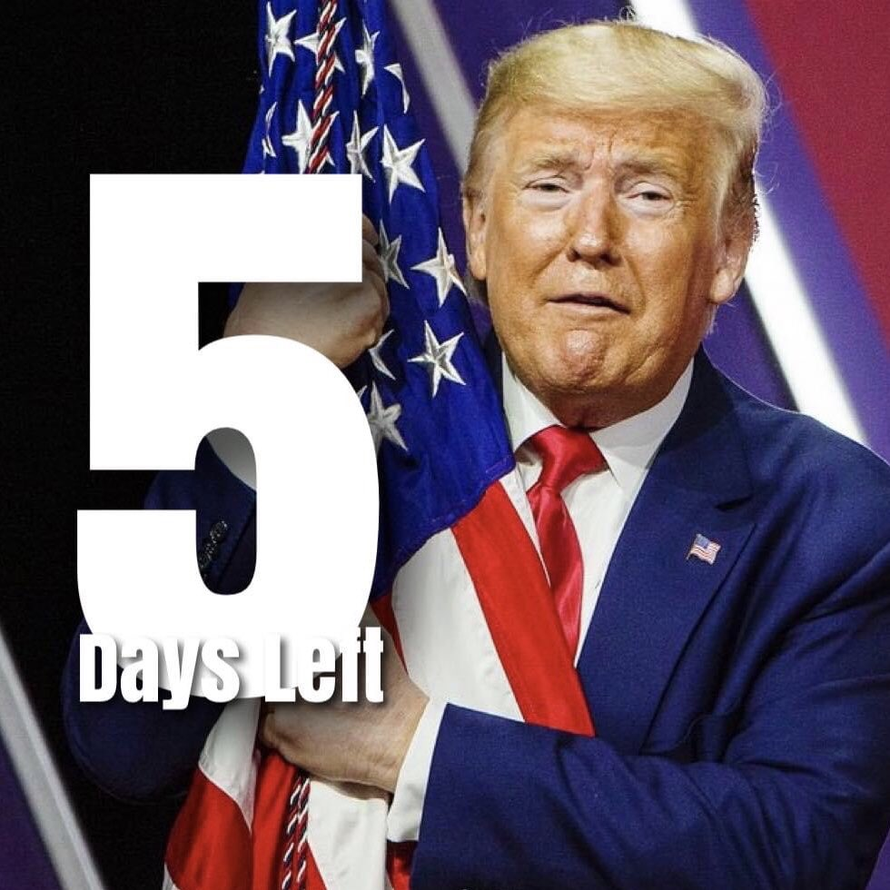 Yes, 5 more days until this nightmare of a President ends!! Goodbye Donald and let the door hit you from behind! 🤬🤬🤬#Trump  #DonaldJTrump  #CapitolHill #Impeach