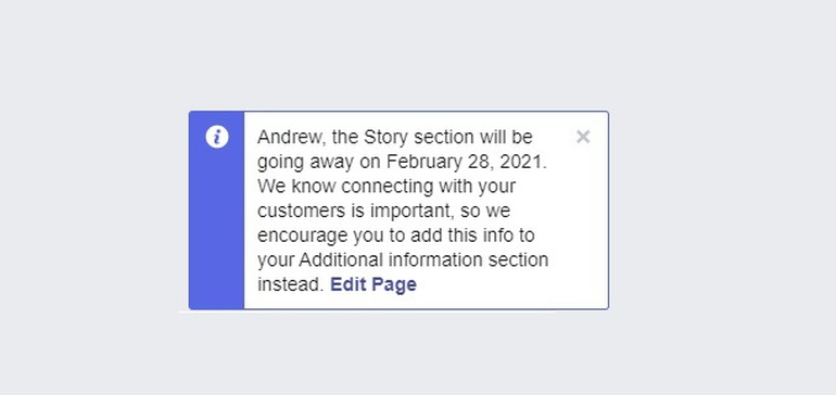 Facebook's Removing the 'Our Story' Section from Pages Next Month  #socialmedia #smm