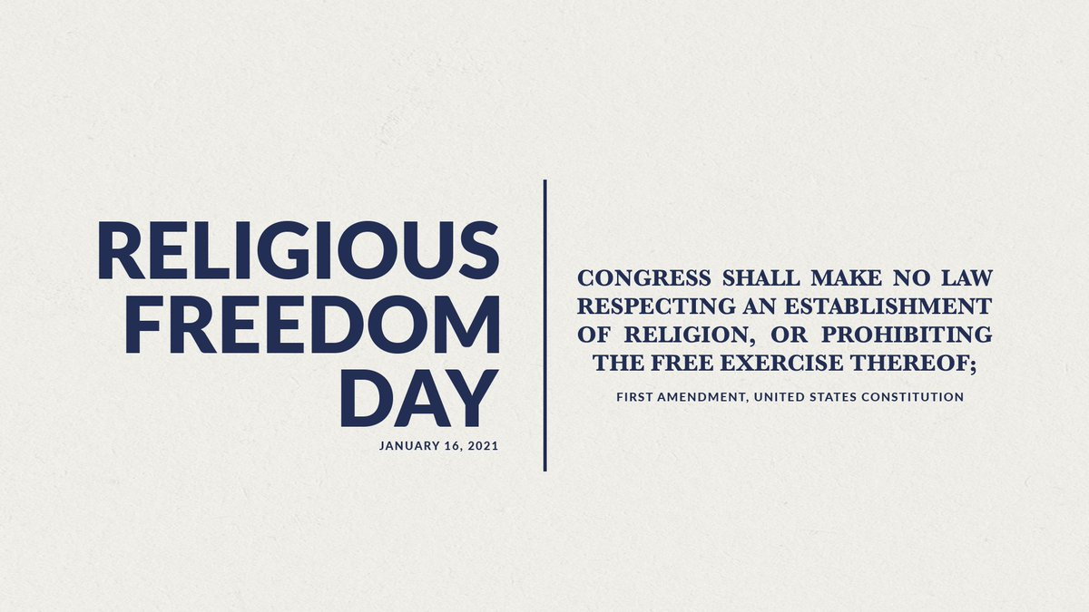 On #NationalReligiousFreedomDay, we celebrate one of the most cherished rights and founding principles of our nation. We must continue to protect the religious liberties of all Americans for generations to come.