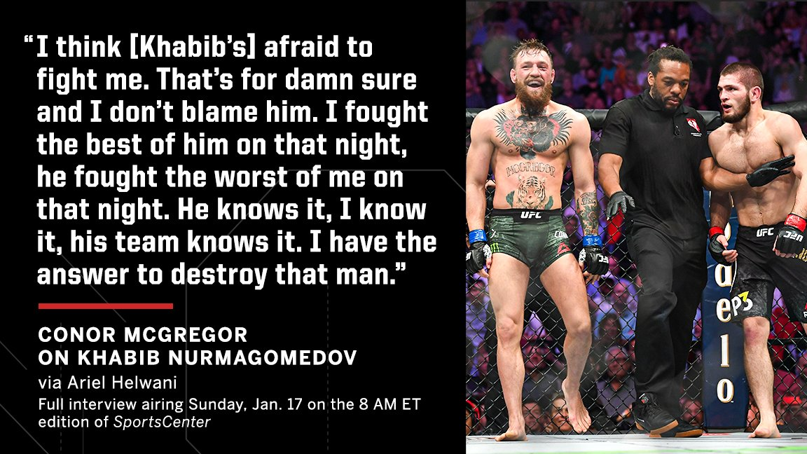 Conor believes a rematch with Khabib would go very differently.  (via @arielhelwani) https://t.co/hSsTN3h8Gs