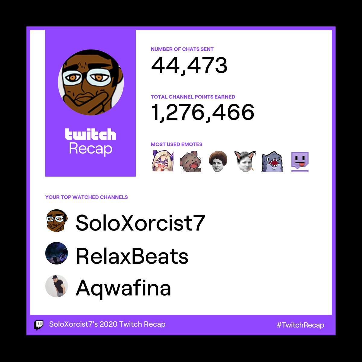#TwitchRecap   i'm my number one viewer  props to music, @AqwafinaTV , @Miistymiisty   had other details on like subs and what I watched the most as well but this is what you can download from the email