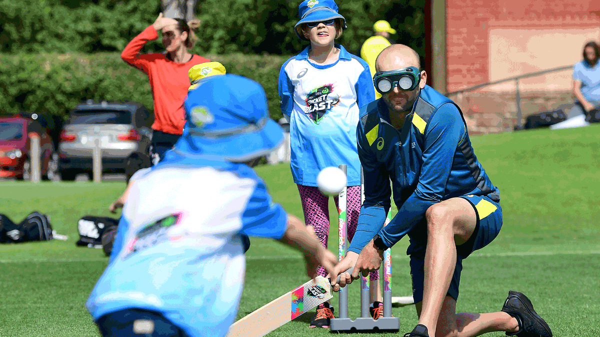 Cricket at its finest! 🤜🤛   Nathan Lyon is no stranger to Blind Cricket South Australia, whose junior and senior programs recently received an upgrade in equipment thanks to the $30M Grassroots Cricket Fund!