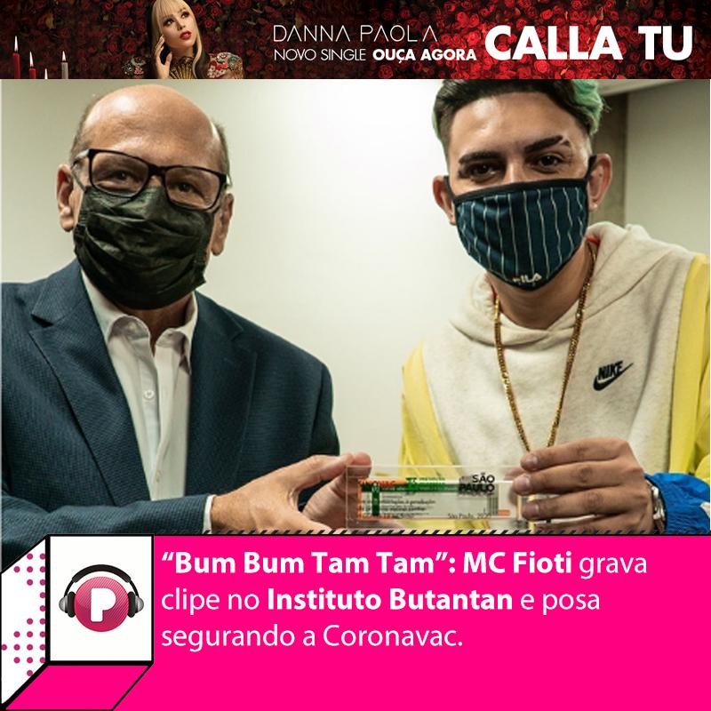 """Mc Fioti gravou o clipe da nova versão de """"Bum Bum Tam Tam"""", o hino da vacina, nesta sexta-feira (15). Não tinha """"locação"""" melhor para a gravação do que o @butantanoficial. Confira:"""