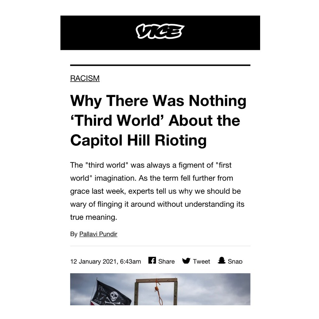 """Quoted in this @VICE piece on invoking the pejorative term """"Third World"""" to describe the Capitol siege.   In global health, we have been fighting to change these historically racist, classist, imperialist views of how we label countries.   https://t.co/KprLQGcVDP https://t.co/4H4SiT0915"""