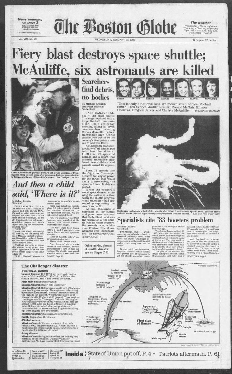 Today marks the 35th anniversary of the Challenger explosion and tragedy. Here's how a few of the papers covered the story in the next day's editions. @Tennessean @latimes @BostonGlobe @NYDailyNews #Challenger
