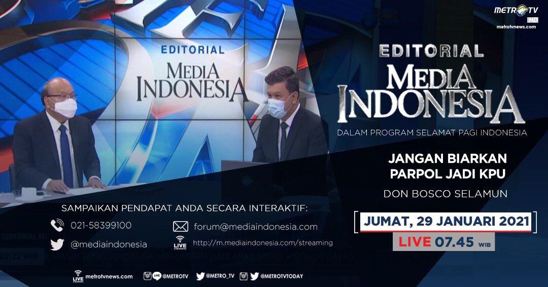 #EditorialMediaIndonesia hari Jumat (29/1) LIVE pukul 07.45 WIB dalam program #SPIMetroTV akan membahas kontroversi draf RUU Pemilu yang memperbolehkan anggota parpol menjadi anggota KPU, bersama pembedah Don Bosco Selamun. @mediaindonesia