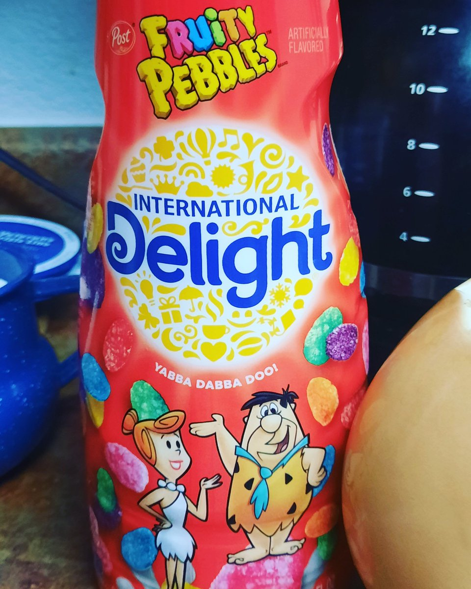 """It's  a """"yabba dabba doo"""" kind of day! Have you tried this #coffee cream? Not bad, not bad at all! #internationaldelight #fruitypebbles #goodmorning #thursdayvibes ☕ 🌞"""
