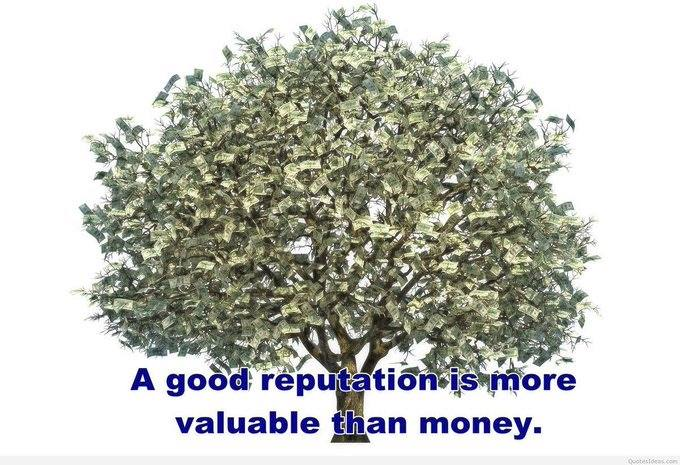 """A GOOD Reputation is more valuable than #Money!"" #ThursdayThoughts #moneytwitter #MoneyTalks #Reputation2021"