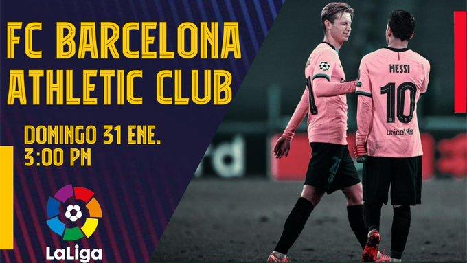 🔥Siguiente partido🔥 🏆@LaLiga ⚽#BarçaAthletic 🕒3:00 pm  #️⃣ ¡Vamos #Culers  🟦🟥#ForçaBarça