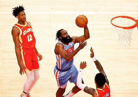 James Harden's night vs Hawks: 46 minutes 31 pts 8 rebounds 15 assists 9/20 FG      5/9 3PTFG         8/8 FT 2 STLS        1 BLK 3 turnovers  A big performance in a massive game for the Nets. #nets #harden #durant #irving #brooklyn #brooklynnets #hawks #atalnta #young https://t.co/WjwbUujJ3p