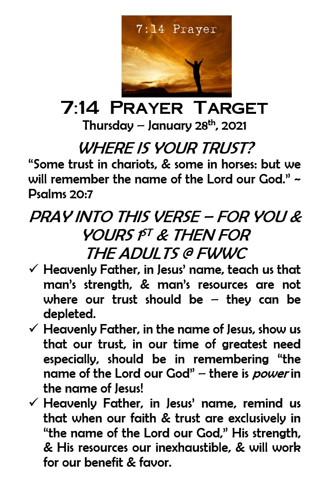 7:14 Prayer Targets for Thurs, Jan 28th #Jesus #Prayer #Reformation #Revival #ThursdayThoughts #ThrowbackThursday