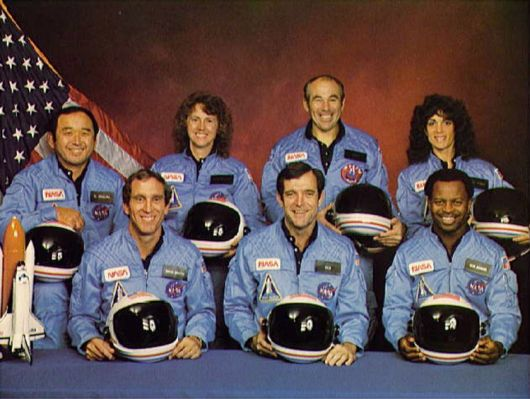 """The crew of the space shuttle #Challenger honored us by the manner in which they lived their lives. We will never forget them, as they prepared for their journey and waved goodbye and """"slipped the surly bonds of earth"""" to """"touch the face of God."""" - Ronald Reagan, January 28, 1986"""