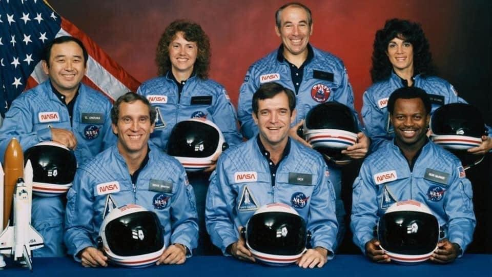 """#Challenger crew honored us by the manner in which they lived their lives. We will never forget them, nor the last time we saw them, this morning, as they prepared for their journey and waved goodbye and """"slipped the surly bonds of earth"""" to """"touch the face of God.""""  Ronald Regan"""