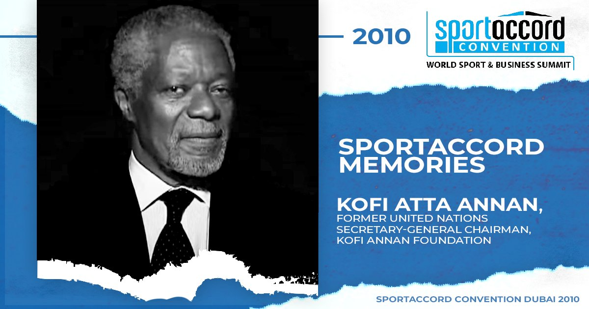 One of our dearest #SAMemories is from SportAccord 2010 in Dubai, UAE. We're truly honoured Kofi Annan, Former Secretary-General of the UN & a #NobelPeacePrize laureate, joined us with his invaluable insights on societies and sport.  Watch the interview: