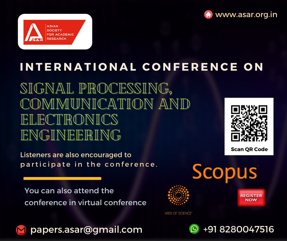 The ASAR- International Conference on #Signal processing, #Communication and #Electronics Engineering (ICSPCEE) which will be held at @Nellore @India Website: https://t.co/Dkek4KPj2h  #upcomingconference #scopuspublication #onlineconference #conference_india #offlinepresentation https://t.co/GTk9ecoJfb