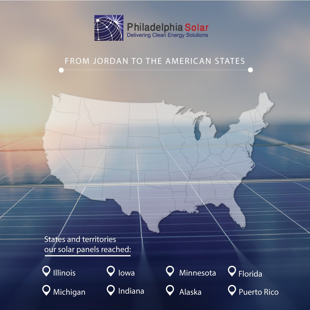 تُصدر شركة فيلادلفيا إلى 47 دولة، وألواحنا الشمسية متوفرة دائماً في الولايات المتحدة الأمريكية.  - للتواصل معنا :  Email: cs@philadelphia-solar.com WhatsApp: +962795080257  #فيلادلفيا_للطاقةالشمسية   #الولاياتالمتحدةالأمريكية #أمريكا #الأردن #طاقة_شمسية #الواح_شمسية #مونو #بولي