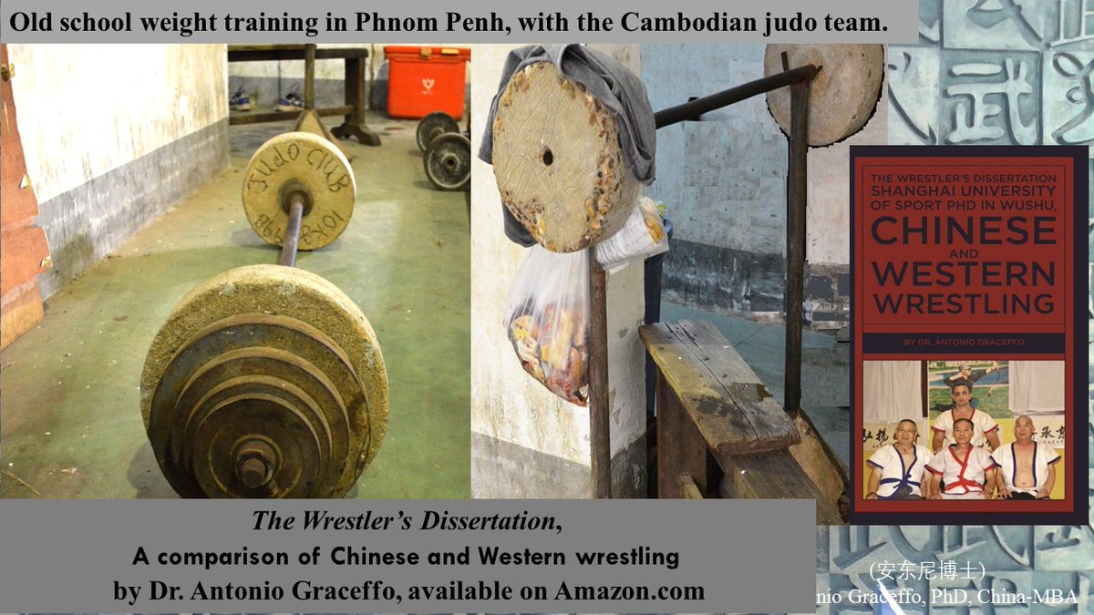 Old school weight training in Phnom Penh, with the Cambodian #judo team during my PhD research. Shanghai University of Sport had no men's freestyle #wrestling, so I would train with the national team coach in Cambodia   The Wrestler's Dissertation