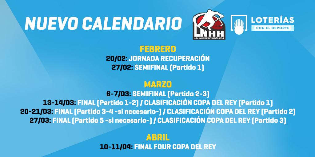 Debido al aplazamiento de partidos en la LNHH @loterias_es por motivos de Covid-19, la RFEDH informa del cambio de calendario de esta competición para poder jugarse los partidos pendientes.   El nuevo calendario queda de la siguiente forma 👇🏻  #ViveElHielo #hockeyhielo