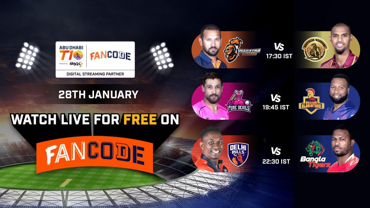 🤩 #AbuDhabiT10 is back! 💥  Check out today's fixtures and catch all the LIVE action for FREE only on the #FanCode app! Download now:    . . #cricket #CricketOnFanCode #AbuDhabiCricket #AbuDhabiT10onFanCode @T10League