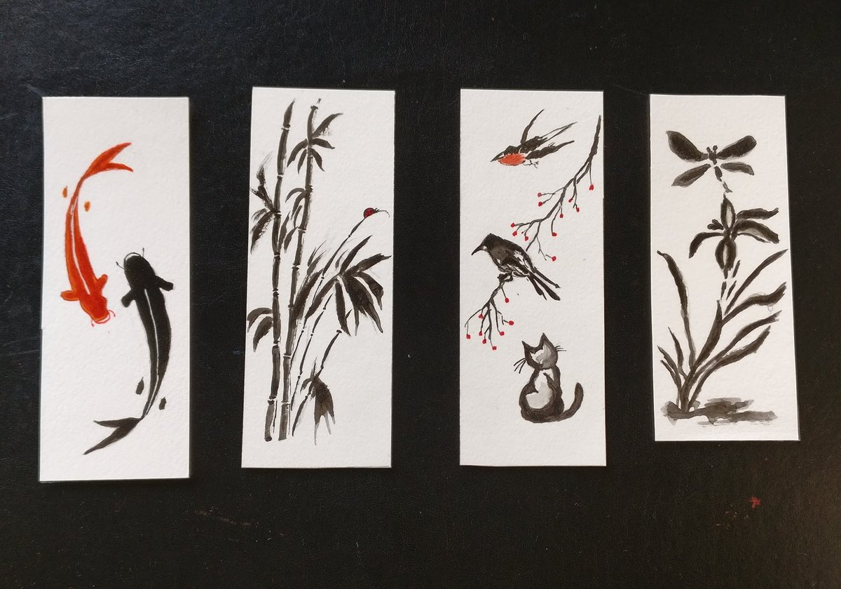 A set of Sumi e inspired Handpainted Watercolor Bookmarks are available now. DM to order. RT for visibility and good karma. #booklovers #booktwitter #ArtTwitter #Bookmarks #forsale #buygetgift #artistsontwitter #artistsoftwitter #buynow #supportartists #ArtSale #sumie https://t.co/Lpcy29LiNC