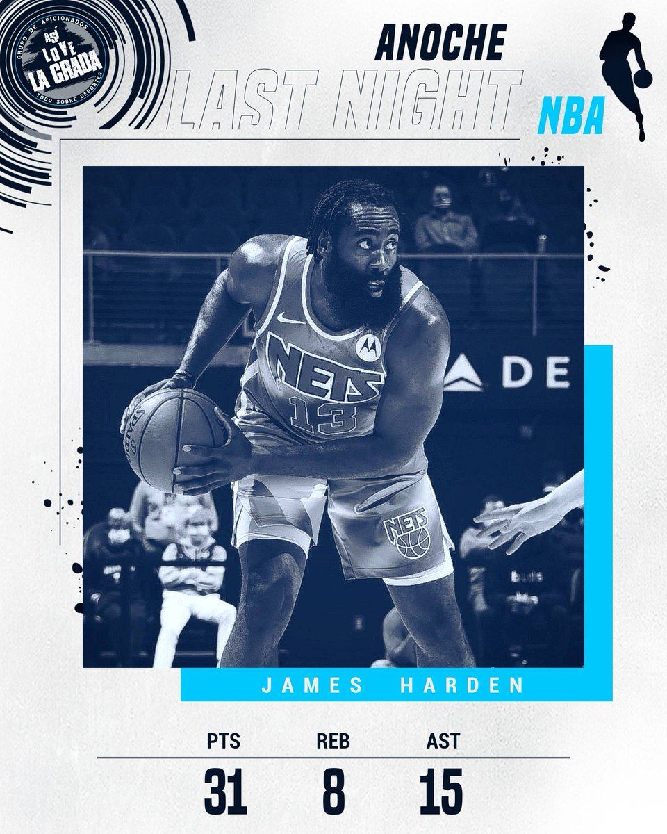 ¡HARDEN LIDERÓ EL BIG THREE! En la victoria de los #BrooklynNets ante los #AtlantaHawks, #Harden fue la estrella que mas brilló.  #JamesHarden : 31 Pts, 8 Reb, 15 Ast #KevinDurant: 32 Pts, 5 Reb #KyrieIrving: 26 Pts, 7 Ast y 4 Reb.  #NBA #asilovelagradabasket #asilovelagrada https://t.co/THvosDeKyJ