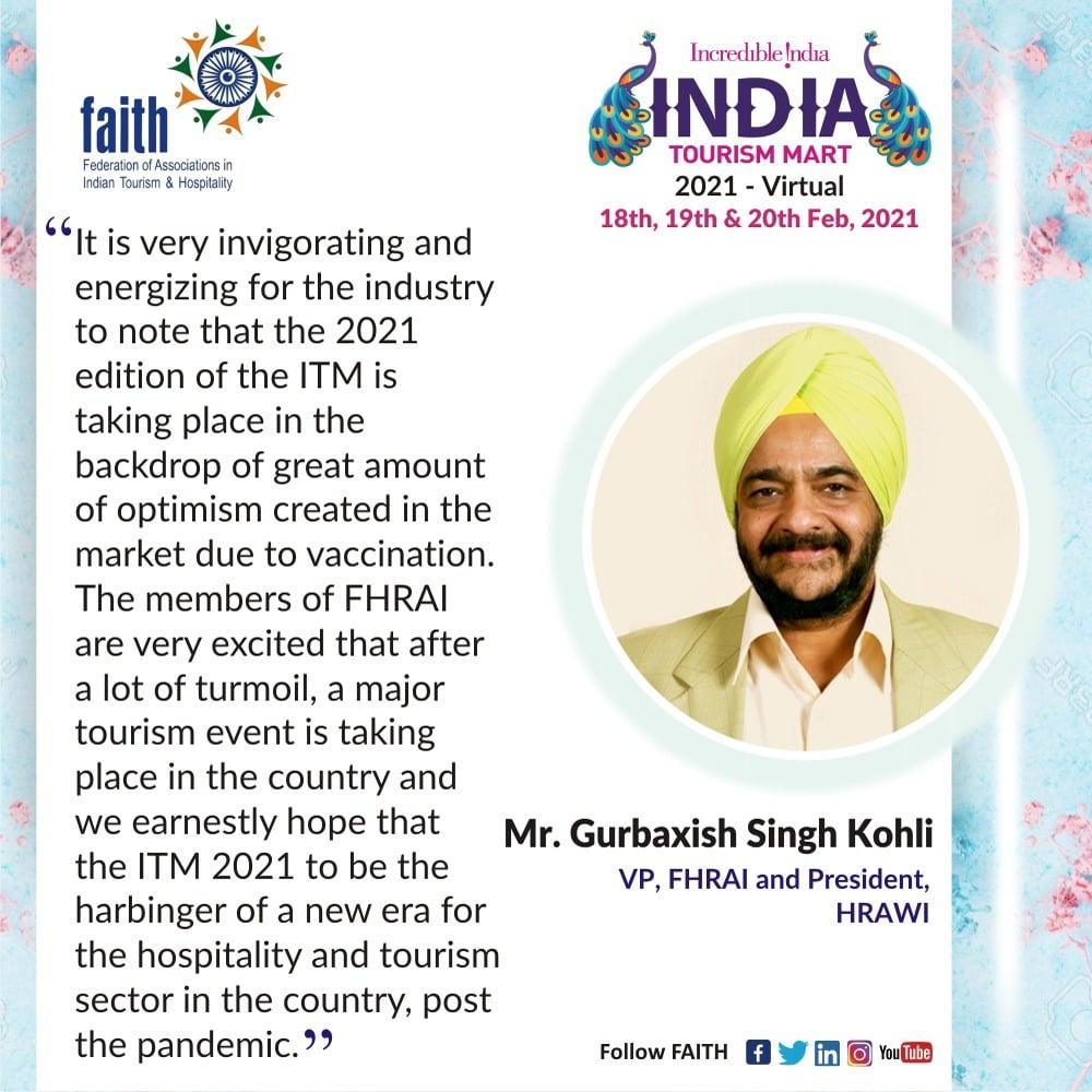 Mr. Gurbaxish Singh Kohli, VP, FHRAI and President, HRAWI speaks on ITM 2021-Virtual.  To register please visit   #TourismMeetsITM21 #LetsConnectITM21  #travel #tourism #IncredibleIndia #India #thursdayvibes