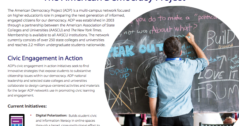 American Democracy Project (ADP). American Association of State Colleges and Universities (AASCU)   #elearning #educación #education #democracy #HigherED #HigherEDucation #university #Universidad #students  #politics #edtech #TIC #culture #cultura