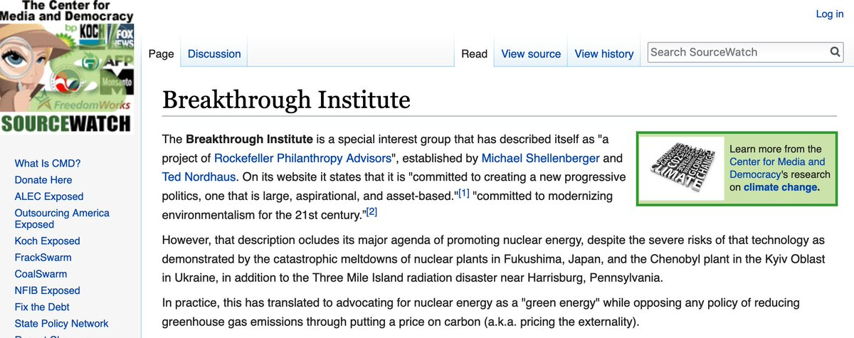 """The """"Breakthrough Institute"""" seems to be a bit upset that The #NewClimateWar calls them out at length for their history of climate inactionism (see @Sourcewatch: https://t.co/2mLYraMxkb). Read more about them and their past deeds in The #NewClimateWar (https://t.co/qhjjM2qHvL) https://t.co/TIgrpZuJq1"""