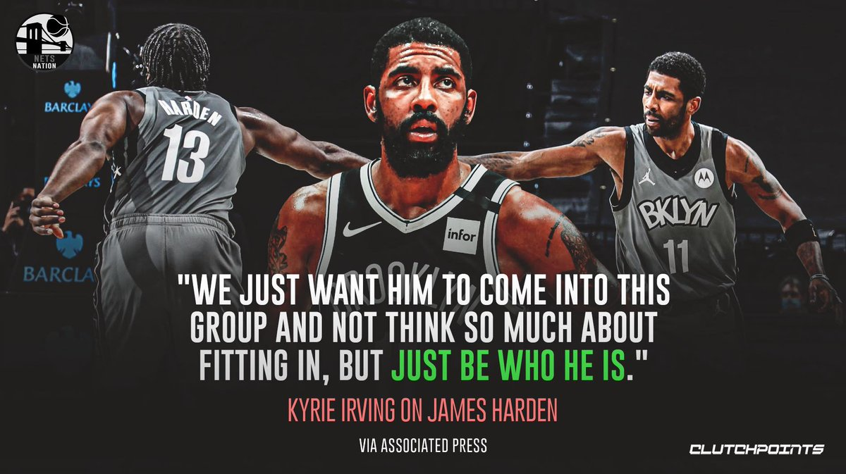 Kyrie Irving just wants James Harden to play his natural game 👀 https://t.co/nMfOwN0eBs
