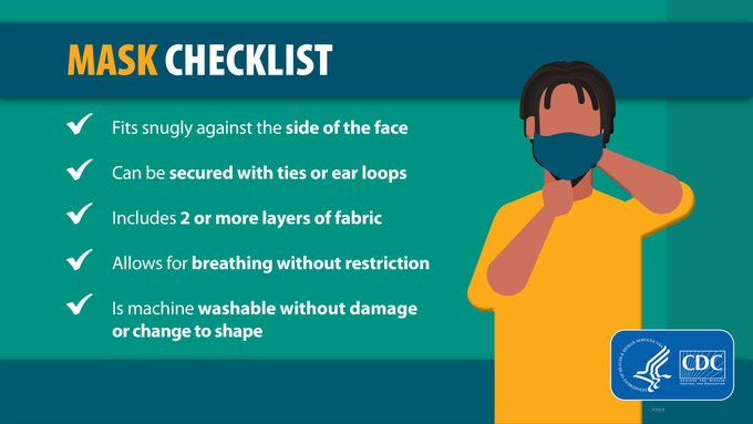 #WearAMask correctly to help prevent the spread of #COVID19 to others. When in public or around others not living in your household, follow this mask checklist. If you have a child, remember those under age 2 should not wear a mask. Learn more: .