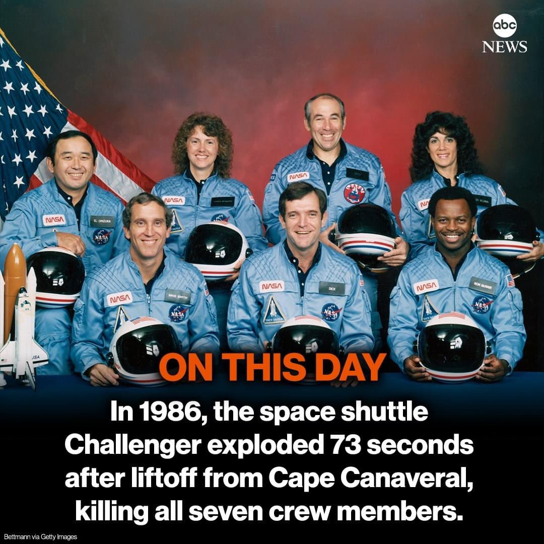 I remember watching the live footage as a kid. RIP to those men and women. #Challenger #january1986