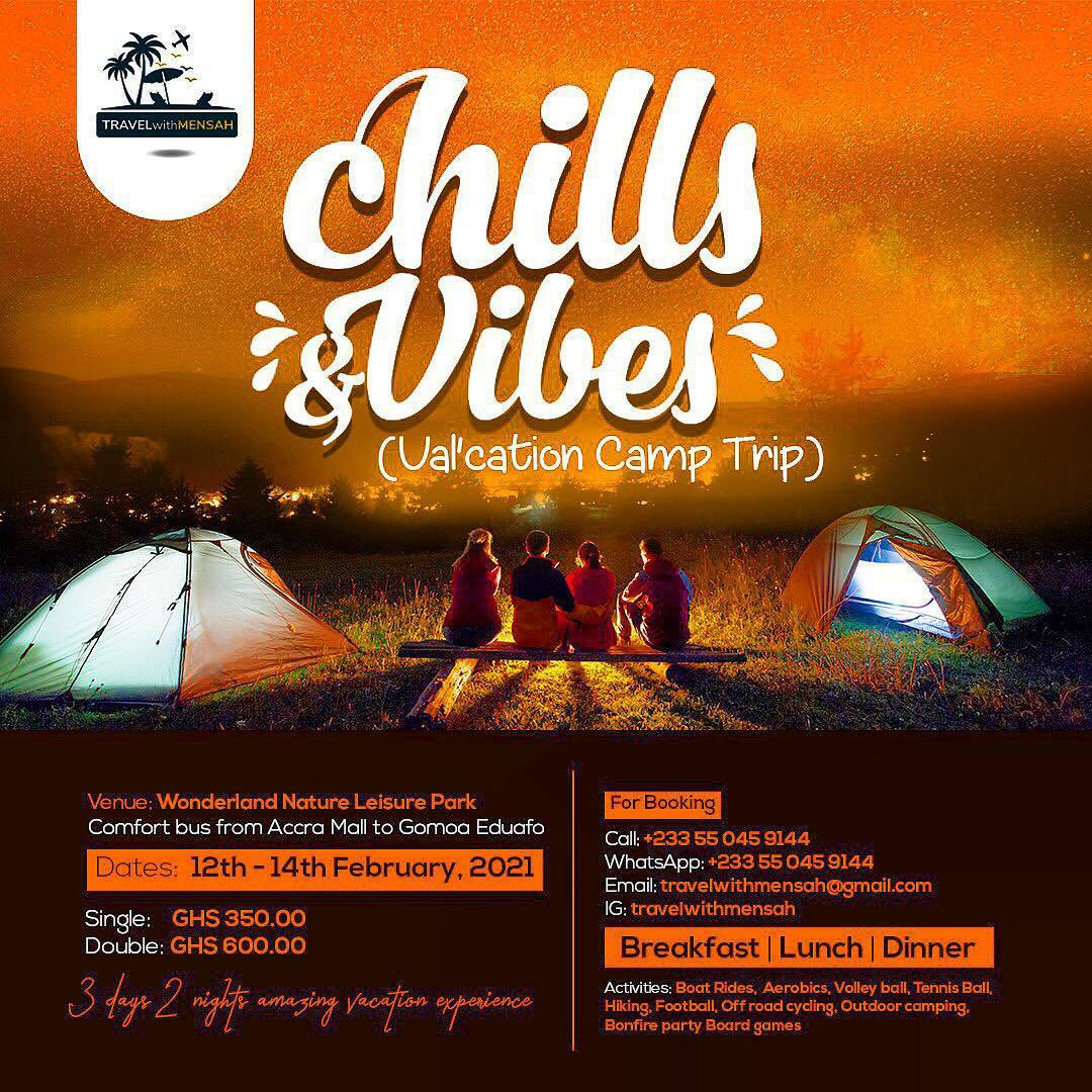 Hello there it is all about the Val'cation chills & vibes camping trip to Wonderland from 12 to 14th February. 3 days 2 nights amazing experience don't miss this.  BOOK FOR YOUR TICKETS NOW.🥳🥳🥳🥳 https://t.co/LNCppCsLXs