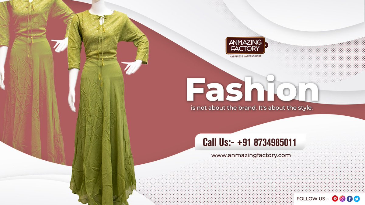 """Fashion is not about the brand. it's about the style"" #anmazingfactory #manufacturing #wholesale #kurti #lifestyle #thursdayvibes #ShrutiHaasan #HappyBirthdayShrutiHaasan #COVID #CovidVaccine #Trending #Clothing #Biggboss14 #thursdaymorning #gamer #Xbox #money"