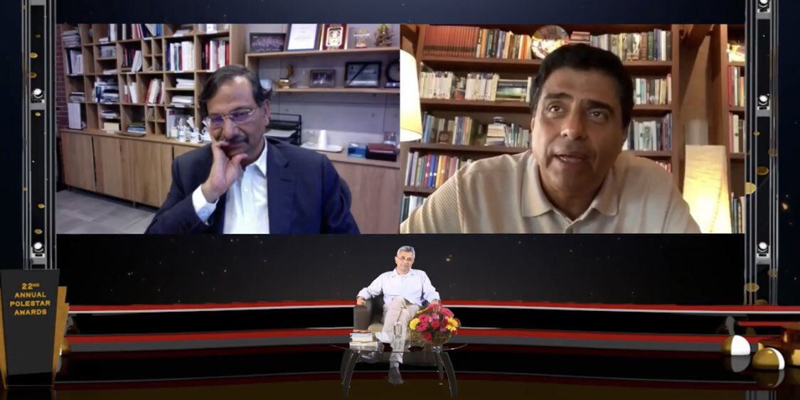 "Loved the points ""..there is no plan B ...got to stick it out.."" Some great insights by @RonnieScrewvala & @ArunUnmukt - virtual 22nd @polestarawards #PoleStarAwards - for Journalism, Business, Technology, & #SocialImpact today.  #storytelling #education"