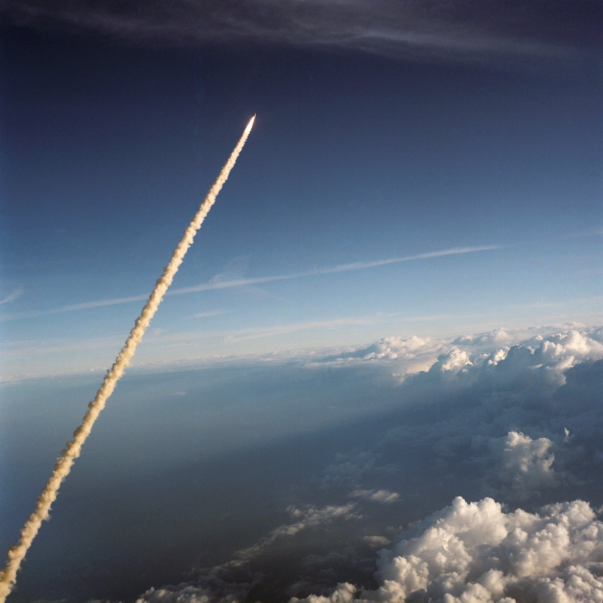 """""""We will never forget them, nor the last time we saw them, this morning, as they prepared for their journey and waved good-bye and 'slipped the surly bonds of earth' to 'touch the face of God."""" @nasa #challenger #STS51"""