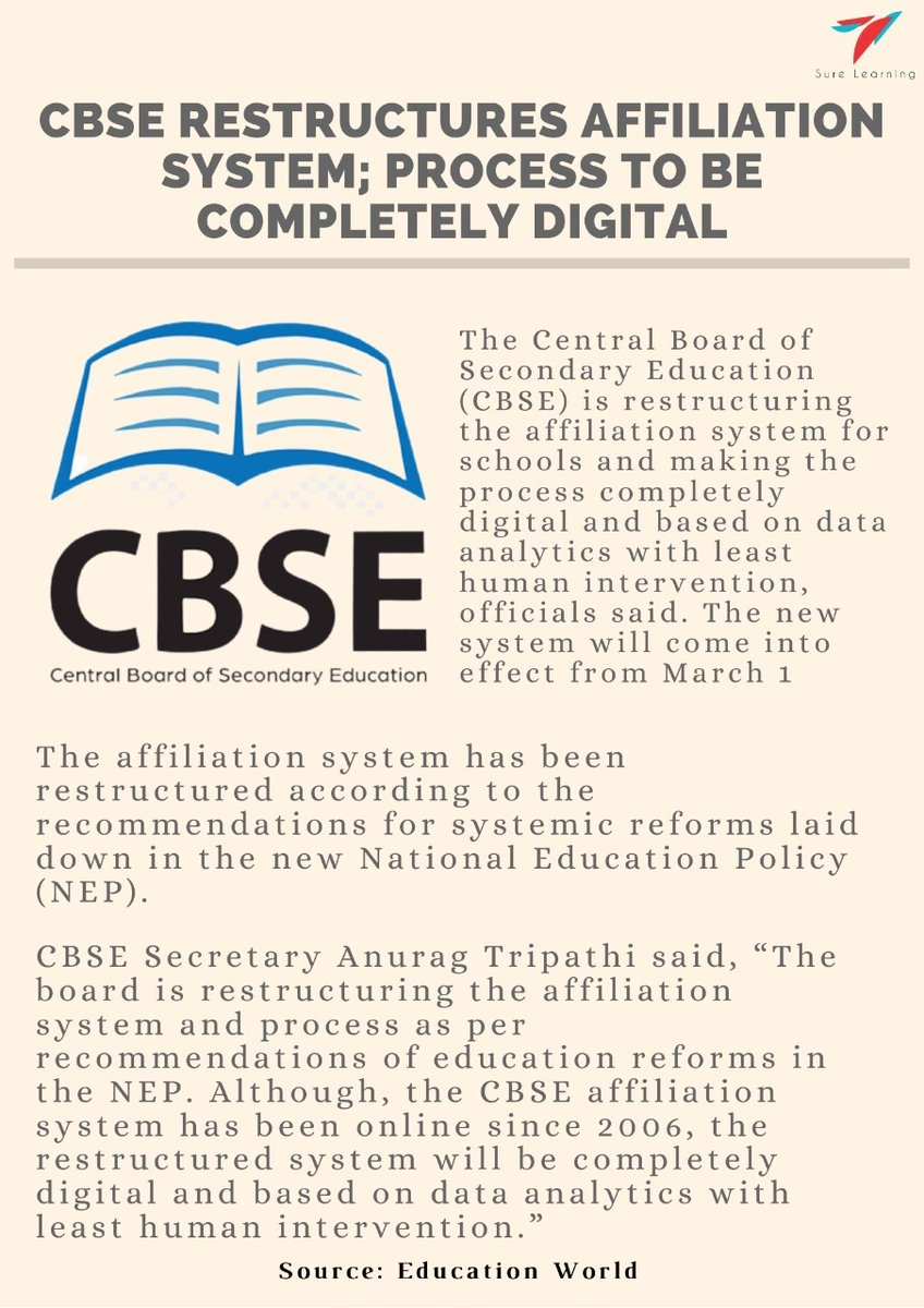 CBSE restructures affiliation system; process to be completely digital                                                                          #Education #News #Trending #Latest #Exam #School #Teacher #k12Education #Surelearning  #Teachers