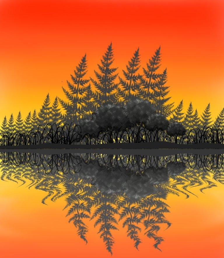 Water reflection in @ibisPaintX8  . . #Reflection #ripple #ibispaintxdrawing #ibispaint #landscape #drawings #art #digitaldrawing #sunset #thursdayvibes #thursdaymorning #illustration