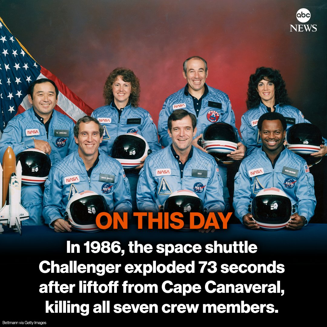 We're remembering the lives lost aboard the Space Shuttle #Challenger 35 years ago today.
